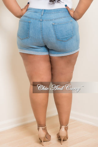 New Plus Size Denim Shorts with Ripped Front in Light Blue