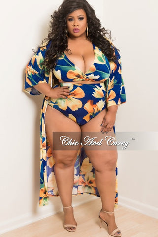 Final Sale Plus Size 3 Piece Play Suit Faux Wrap Crop Top with High Waist Bottom and Matching Coat in Royal Blue, Yellow and  Green