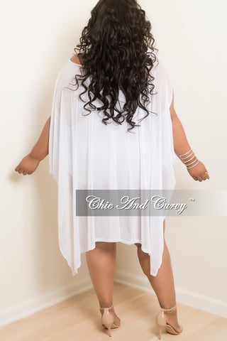 Final Sale Plus Size Mesh Handkerchief Top / Dress/ Coverup in White