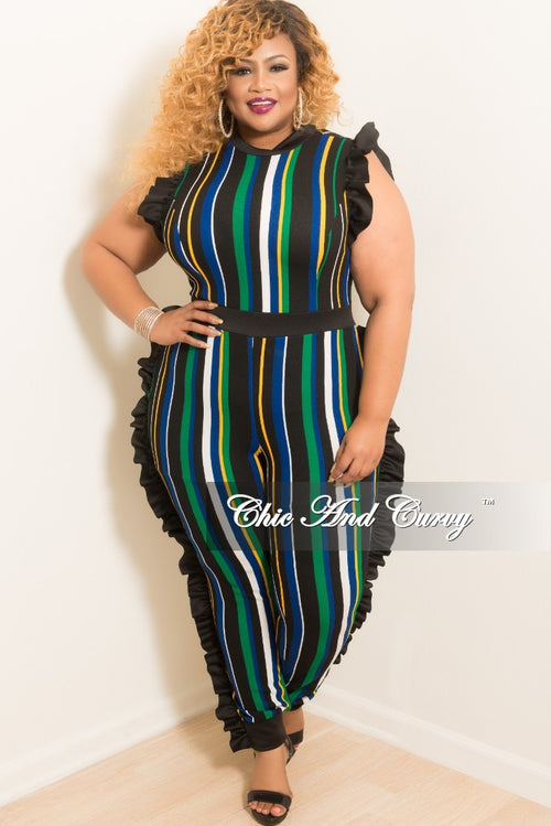 New Plus Size Striped Jumpsuit with Ruffle Trim and Back Zipper in Black Yellow Royal Blue White and Green
