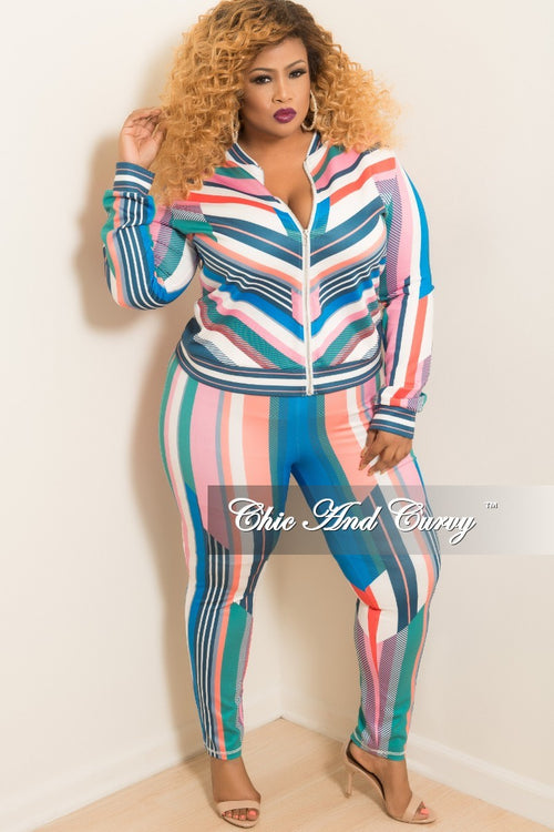 Final Sale Plus Size 2-Piece Stripe Jacket and Pants Set in Pink and Royal Blue Multi Color Print