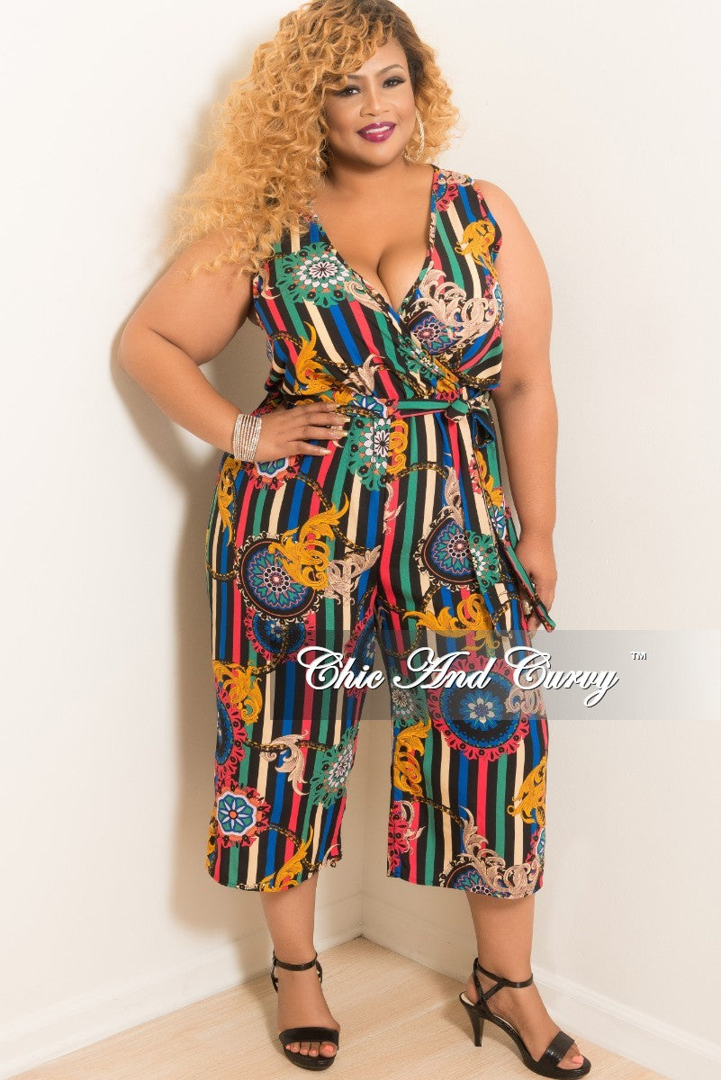 b9d0a4927ae New Plus Size Sleeveless Faux Wrap Jumpsuit with Attached Tie in Strip –  Chic And Curvy