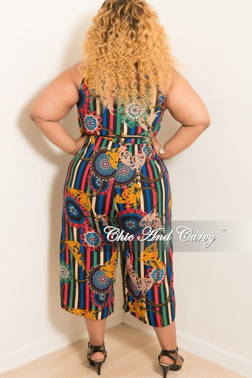 New Plus Size Sleeveless Faux Wrap Jumpsuit with Attached Tie in Striped Multi Color Print