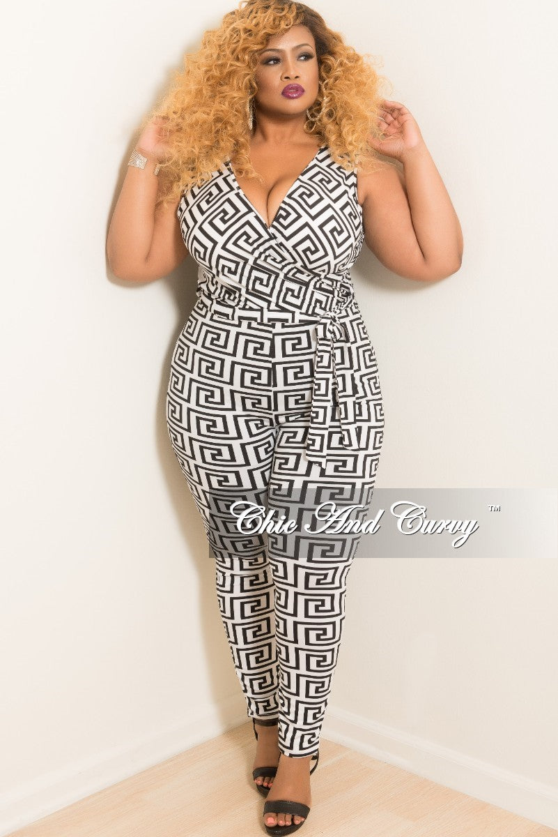 New Plus Size Sleeveless Faux Wrap Jumpsuit with Attached Tie in Black and White Maze Print