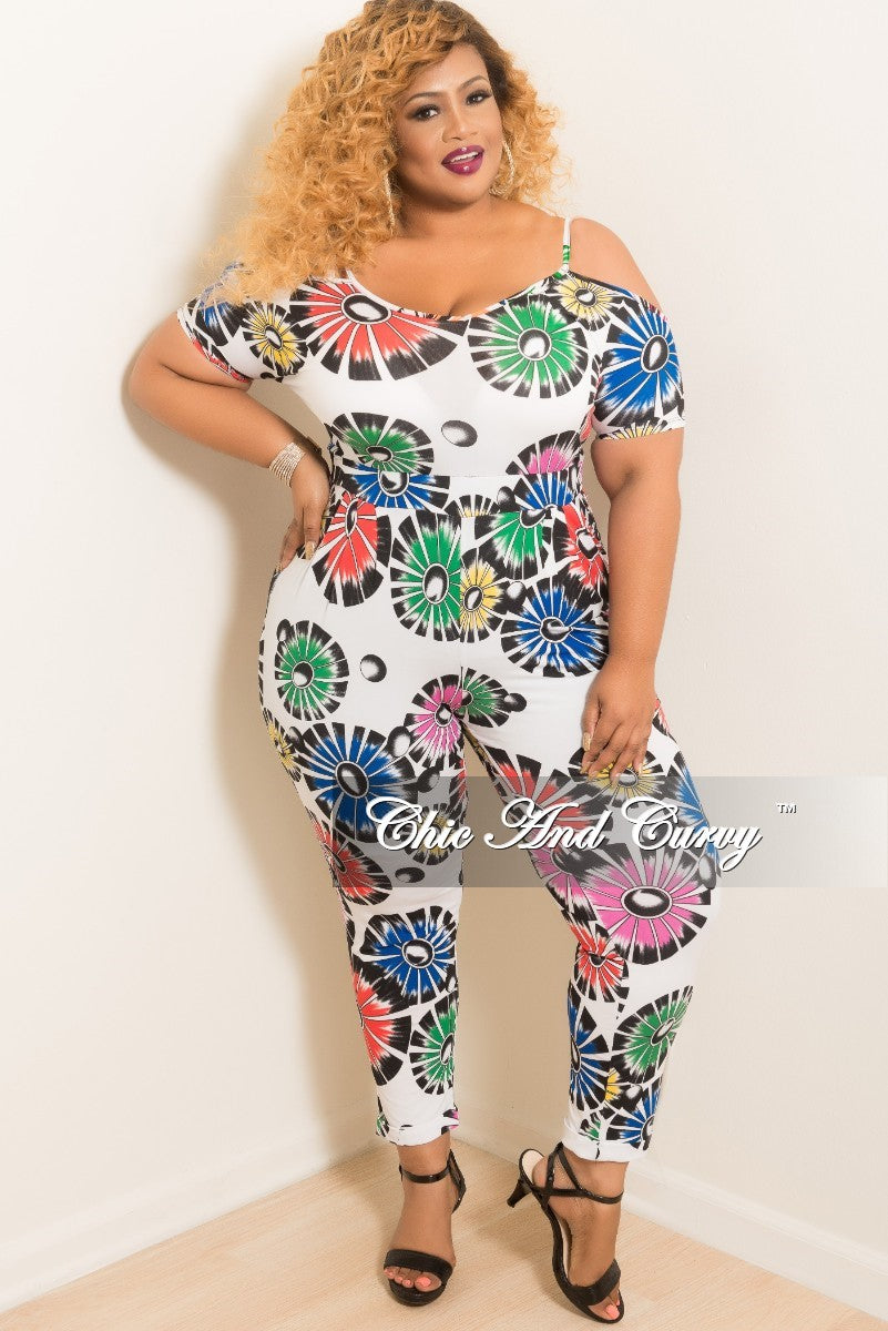 e0b19ab6452 Final Sale Plus Size Off the Shoulder Jumpsuit in White Multi Color Pr –  Chic And Curvy