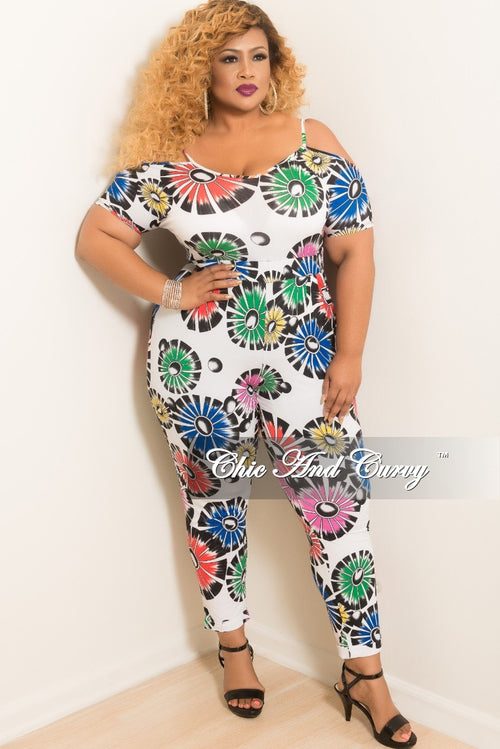 Final Sale Plus Size Off the Shoulder Jumpsuit in White Multi Color Print