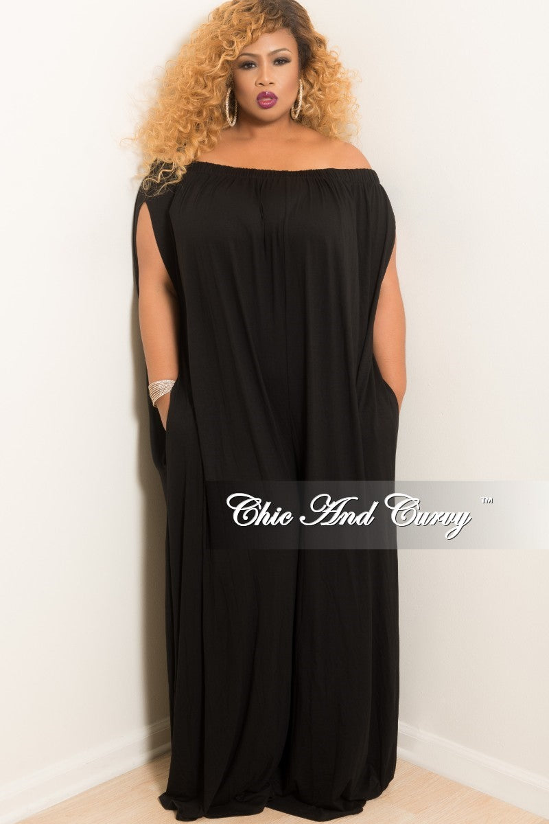 New Plus Size Off the Shoulder Loose Jumpsuit in Black