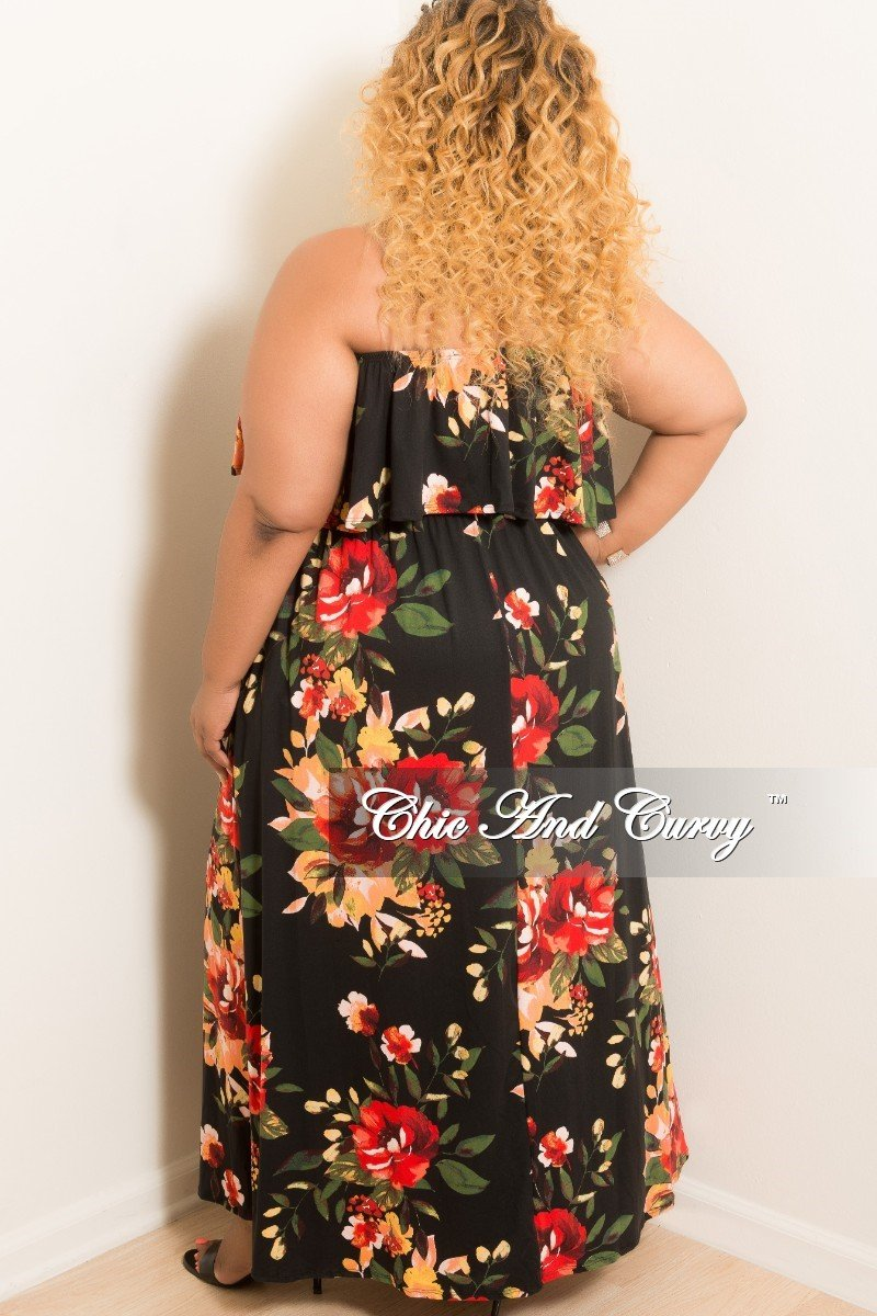 New Plus Size Strapless Ruffle Dress in Black Floral Print