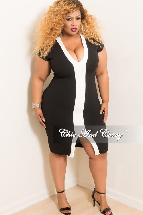 New Plus Size BodyCon V-Neck Short Sleeve Dress in Black with Off White Line