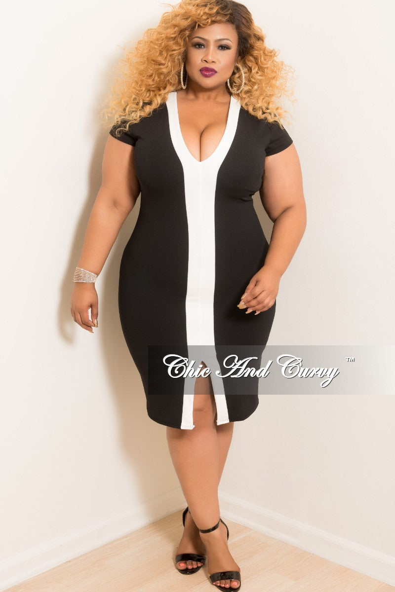 Final Sale Plus Size BodyCon V-Neck Short Sleeve Dress in Black with Off White Line