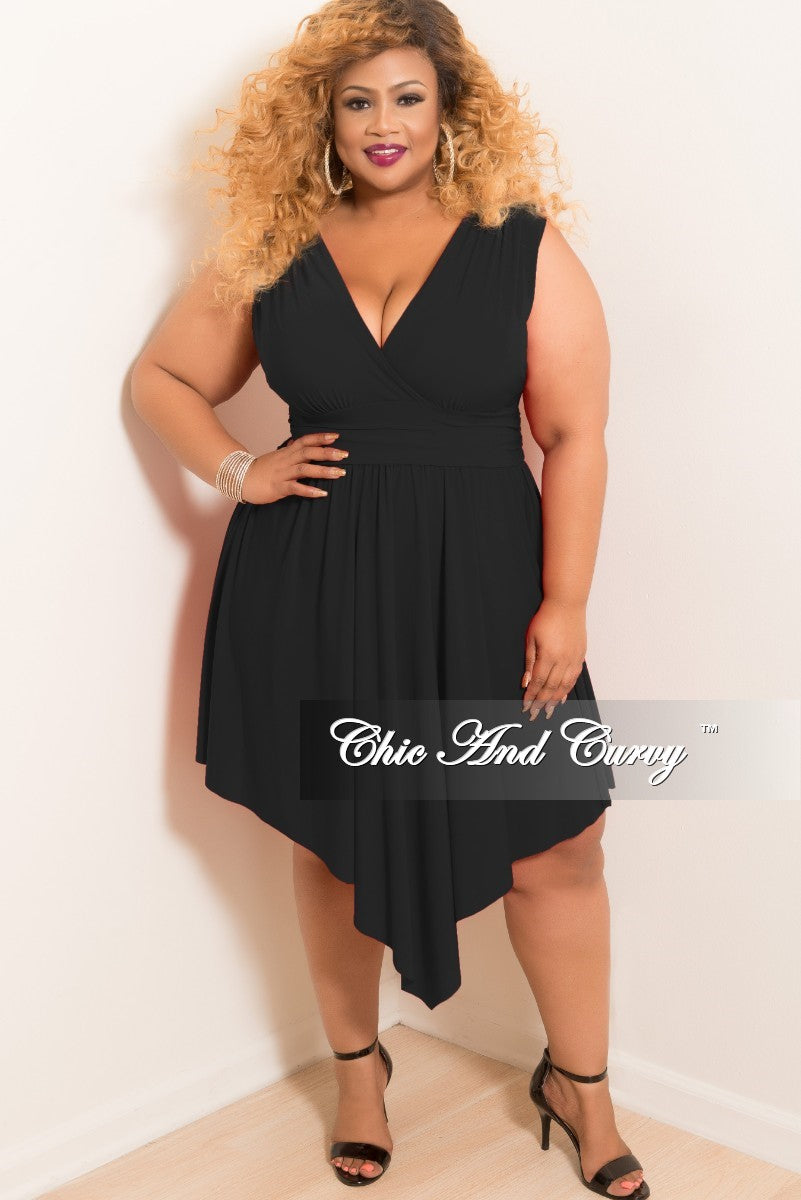 New Plus Size Sleeveless Faux Wrap High-Low Dress in Black