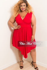 Final Sale Plus Size Sleeveless Faux Wrap High-Low Dress in Red
