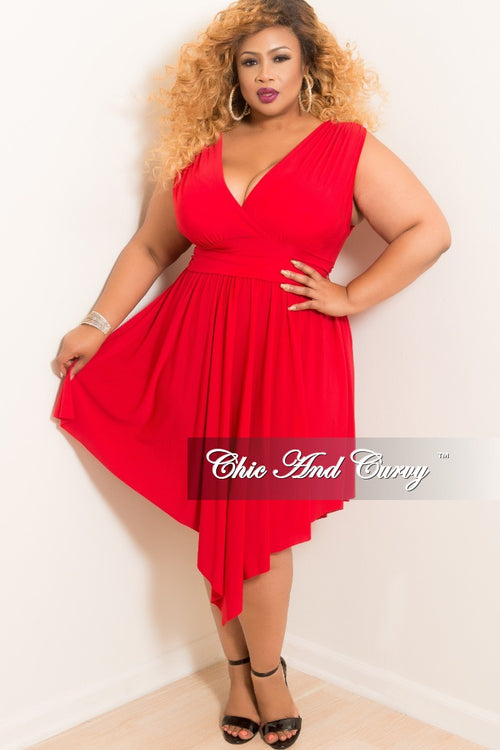 New Plus Size Sleeveless Faux Wrap High-Low Dress in Red