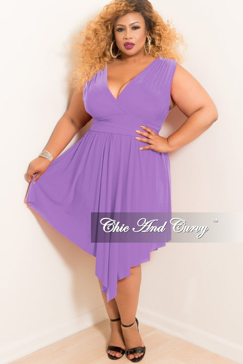 New Plus Size Sleeveless Faux Wrap High-Low Dress in Lavender