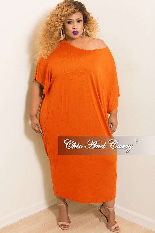 Final Sale Plus Size Oversize Off the Shoulder Dress in Orange