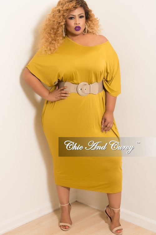 New Plus Size Oversize Off the Shoulder Dress in Dark Mustard