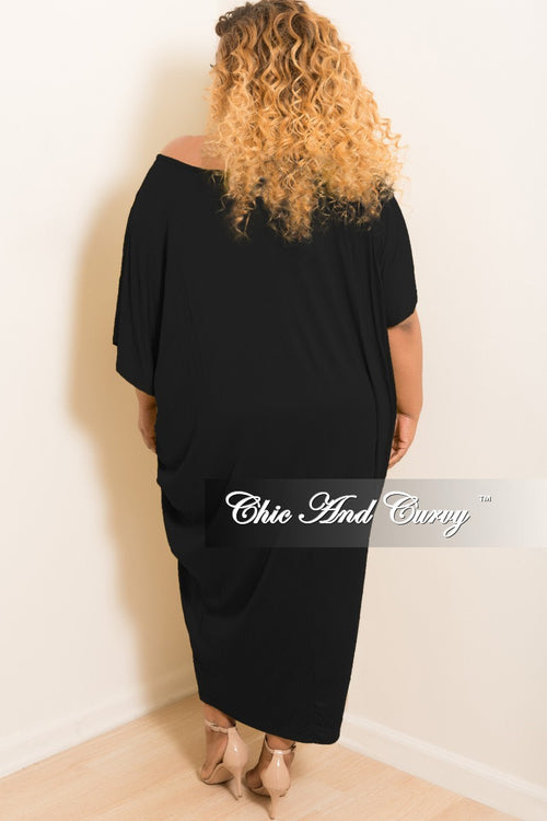New Plus Size Oversize Off the Shoulder Dress in Black