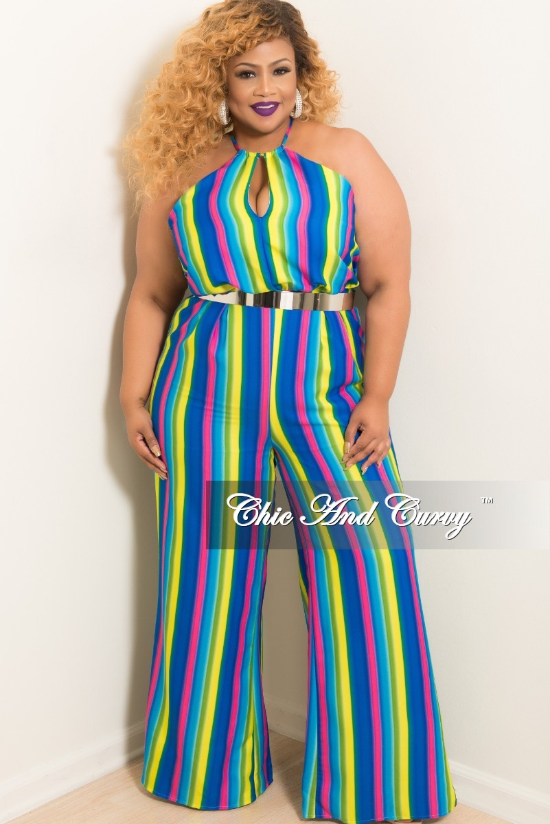 New Plus Size Halter Top Jumpsuit with Front and Back Cutouts and Back Zipper in Stripe Multi Color Print