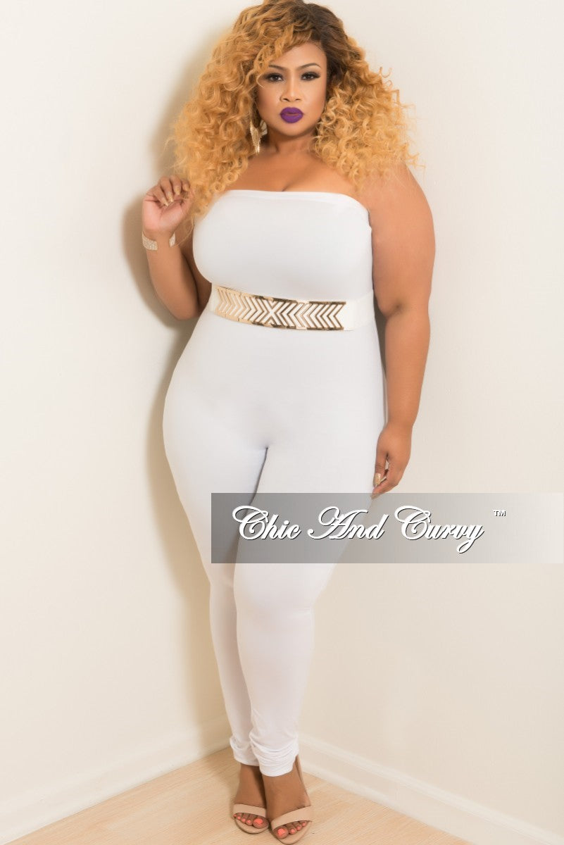 142d3d4e9d01 Final Sale Plus Size Strapless Tube Jumpsuit in White – Chic And Curvy