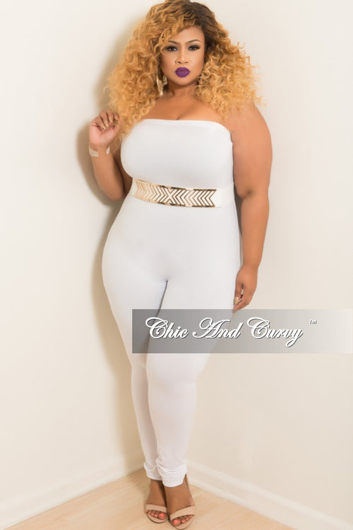 Final Sale Plus Size Strapless Tube Jumpsuit in White