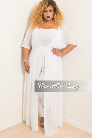 Final Sale Plus Size Sheer Button High-Low Duster in Ivory