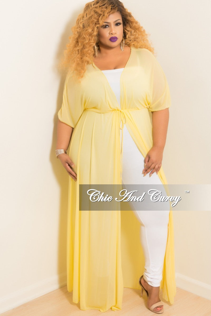Final Sale Plus Size Long Sheer Cover Up with Tie in Yellow