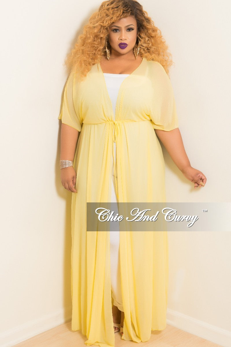 08a8705ddd731 Final Sale Plus Size Long Sheer Cover Up with Tie in Yellow – Chic And Curvy