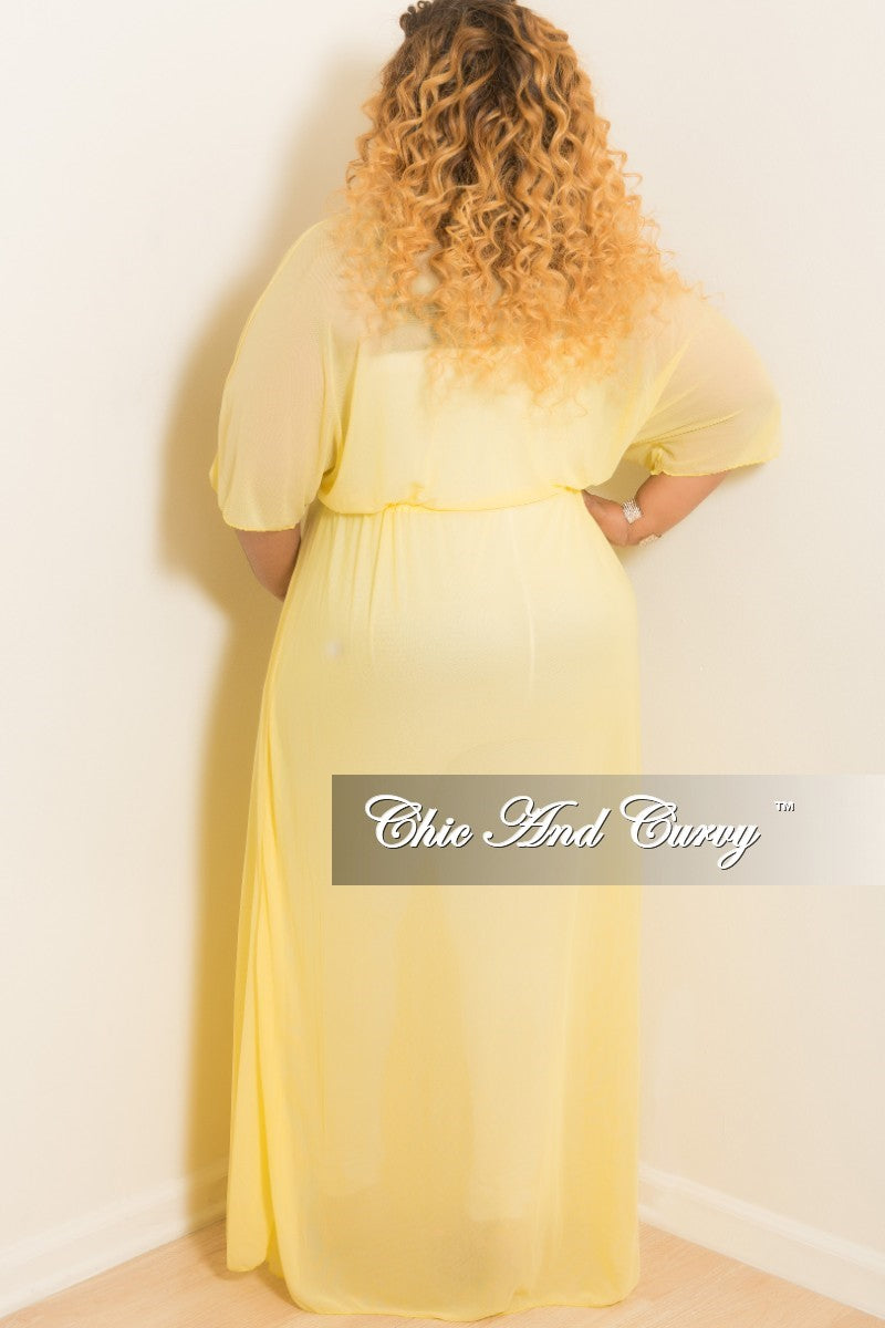 5161d659eaaee Final Sale Plus Size Long Sheer Cover Up with Tie in Yellow – Chic ...