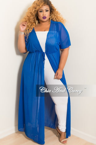 4cf8aaf7b67da Final Sale Plus Size Long Sheer Cover Up with Tie in Royal Blue.   48.00. Final  Sale Plus Size Marilyn Monroe Long Sleeve Top with Shredded Back ...