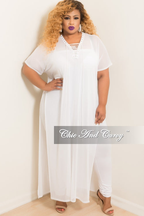 Final Sale Plus Size Short Sleeve Lace Up Mesh Cover-Up in White