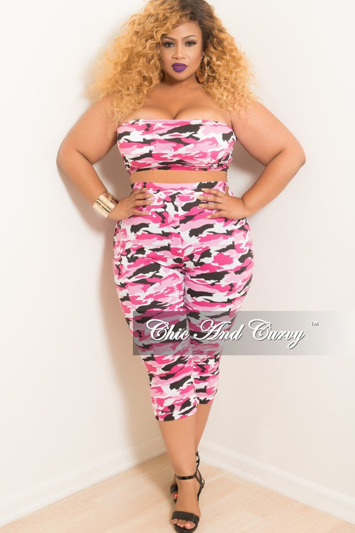 Final Sale Plus Size 2-Piece Cropped Tube Top and High Waist Pants Set in Pink Camouflage Print