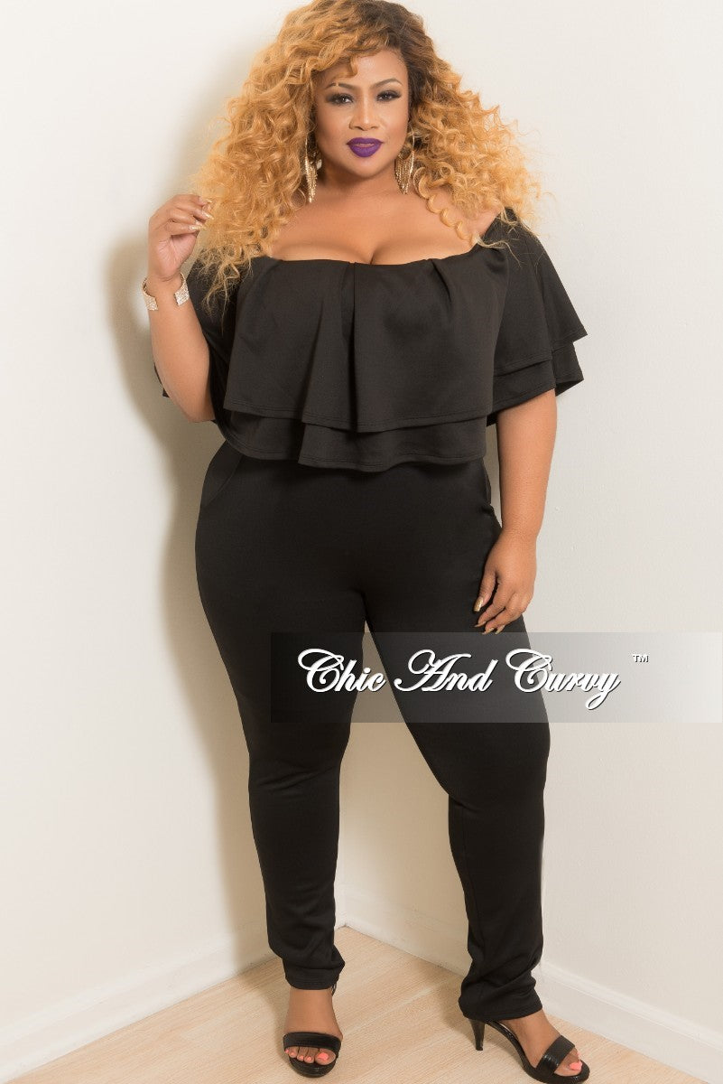 Final Sale Plus Size 2-Piece Off the Shoulder Ruffle Top and Pants Set in Black