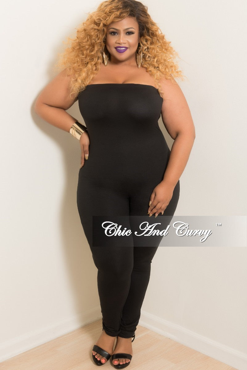 84be84de1d33 Final Sale Plus Size Strapless Tube Jumpsuit in Black – Chic And Curvy
