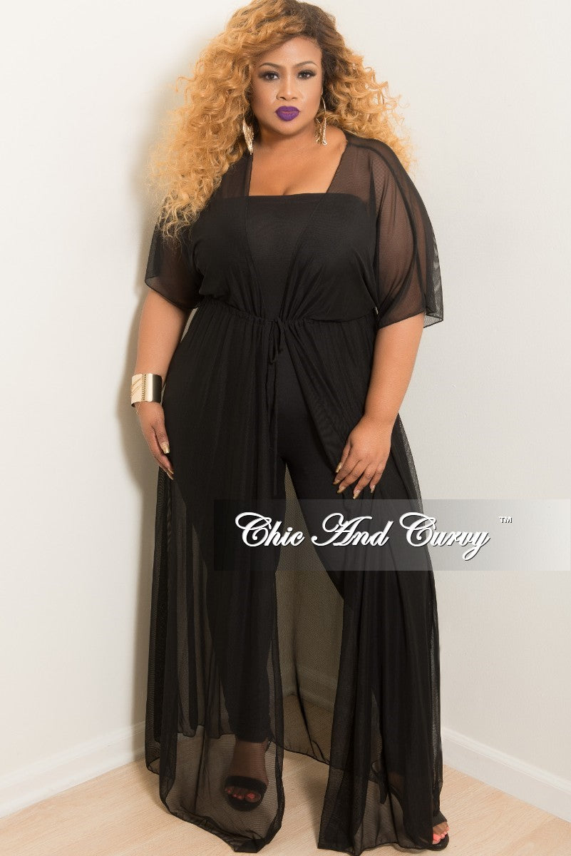 Final Sale Plus Size Long Sheer Cover Up with Tie in Black