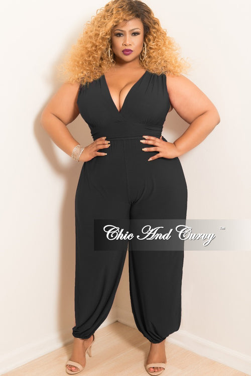 Final Sale Plus Size Faux Wrap Short Sleeve Jumpsuit with High Side Slits in Black