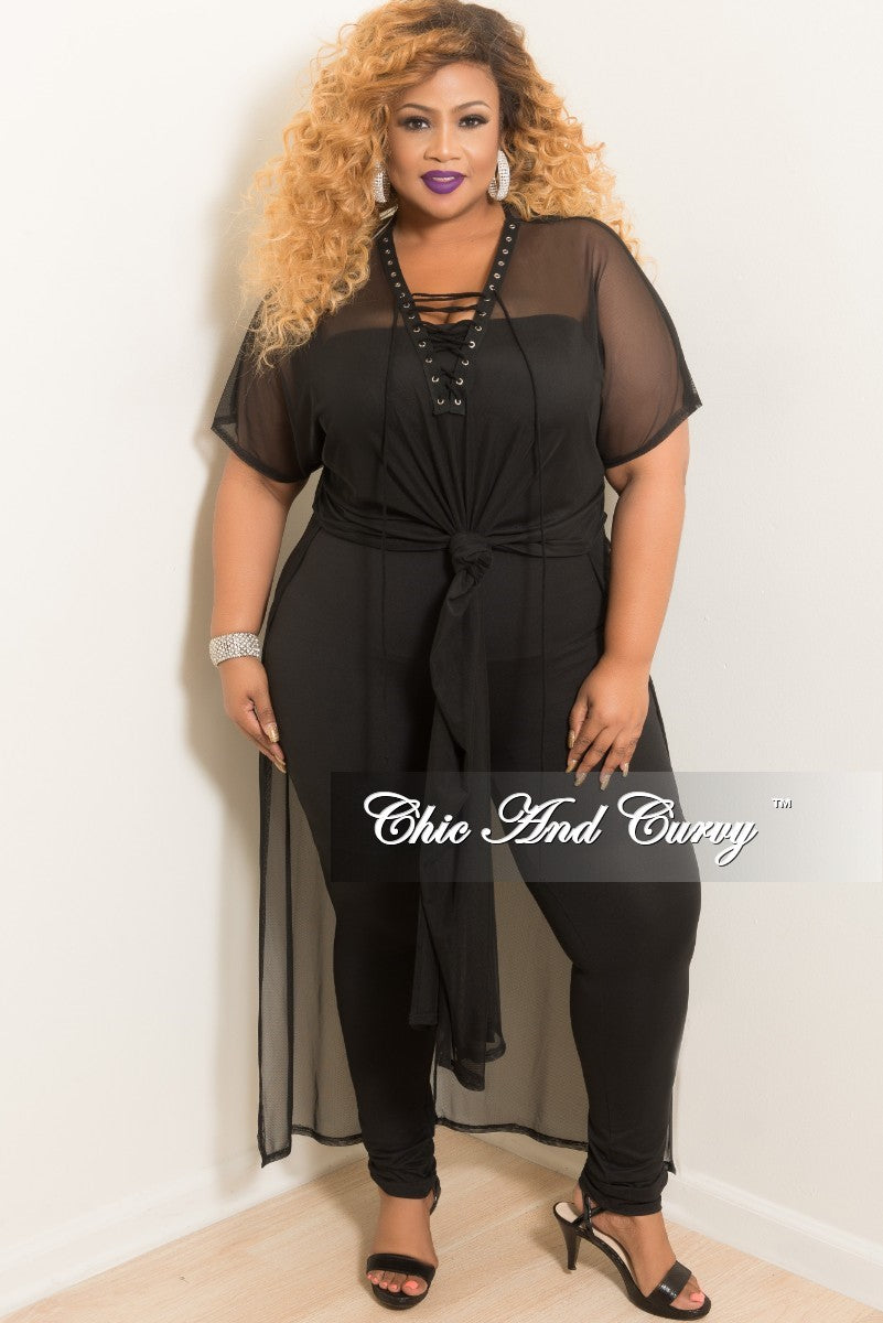 Final Sale Plus Size Short Sleeve Lace Up Mesh Cover-Up in Black