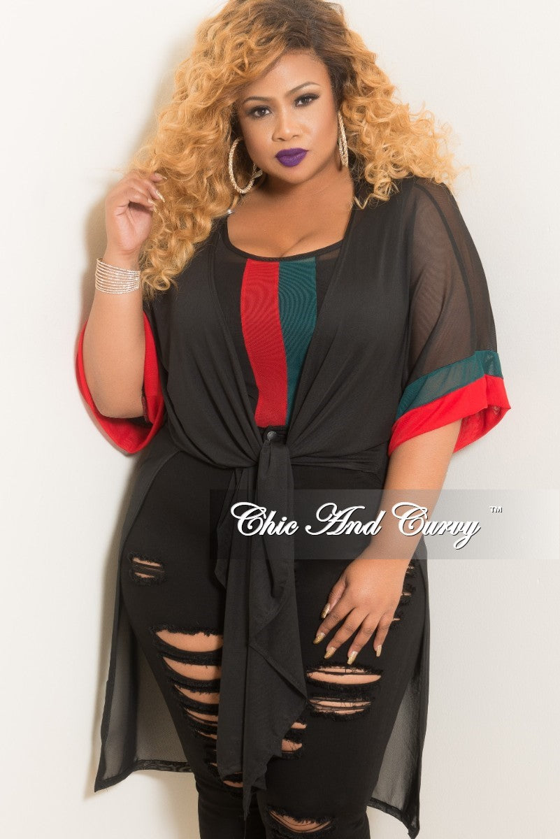f441182b2a7 Final Sale Plus Size 2-Piece Mesh Duster and Bodysuit in Black with Re –  Chic And Curvy