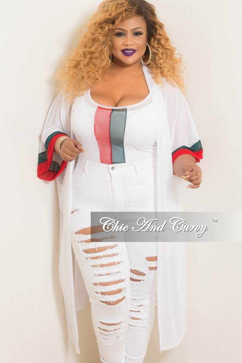 Final Sale Plus Size 2-Piece Mesh Duster and Bodysuit in White with Red and Green Trim