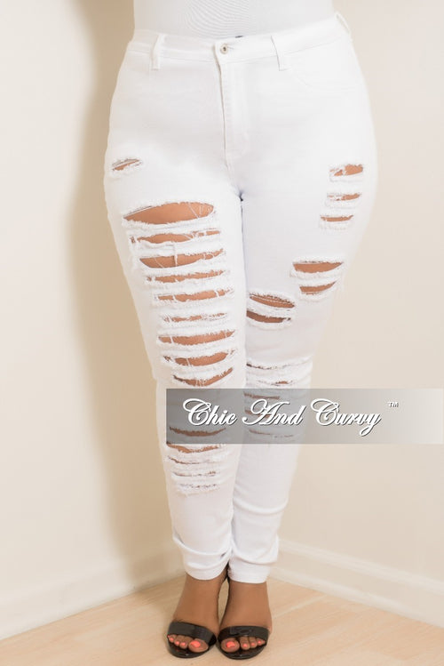 Final Sale Plus Jeans with Ripped Front in White
