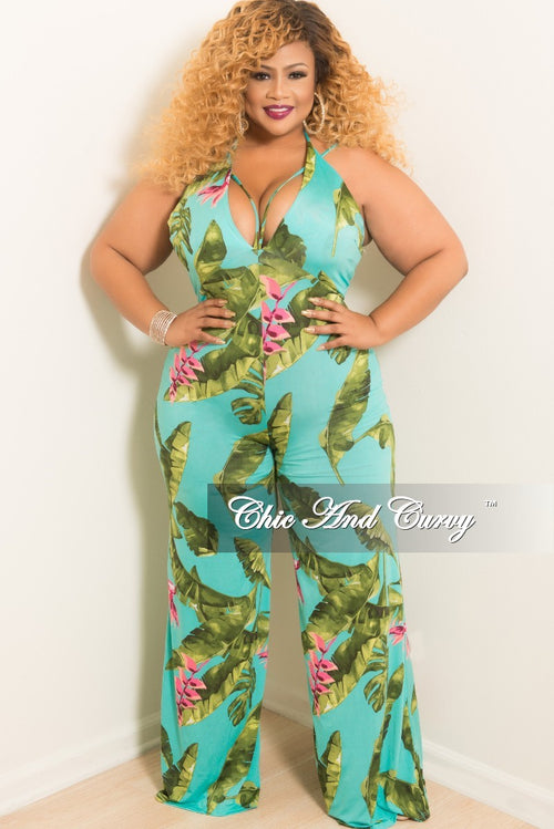 New Plus Size Halter Spaghetti Strap Jumpsuit with Wide Legs in Teal Green and Pink Leaf Print