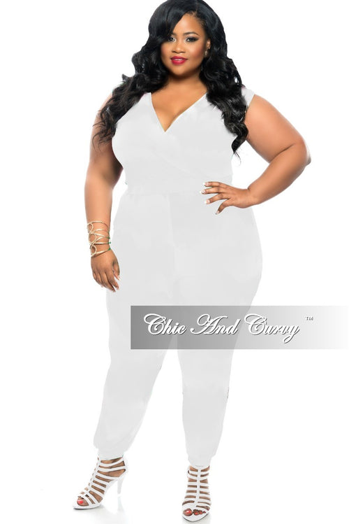 cd8232673dc Final Sale Plus Size Jumpsuit w  V-Neck and Back in White