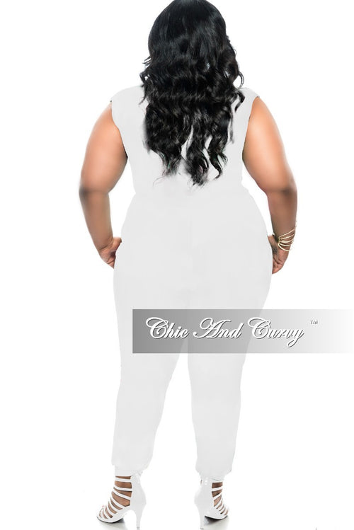 Final Sale Plus Size Jumpsuit w/ V-Neck and Back in White
