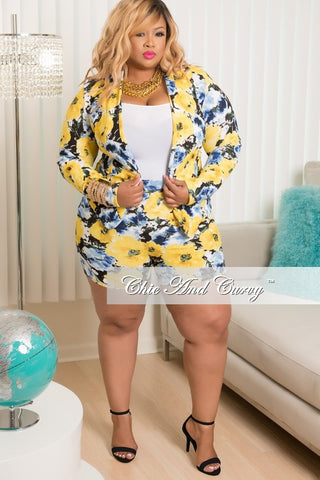 New Plus Size 2 Piece Blazer and Short Set in Yellow, Blue & White