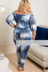 Final Sale Plus Size Off The Shoulder Jumpsuit in Blue and White