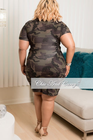 New Plus Size Short Sleeve BodyCon Dress in Camouflage with Corseted Tie Up Sides