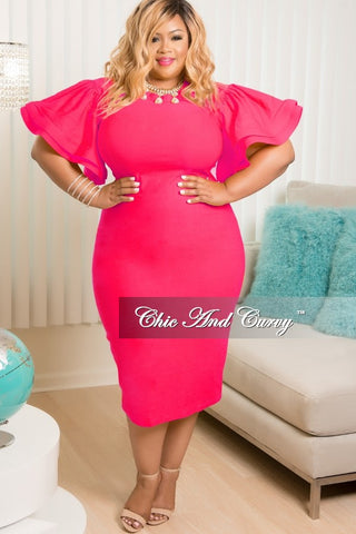 New Plus Size BodyCon Dress with Ruffle Sleeves in Hot Pink