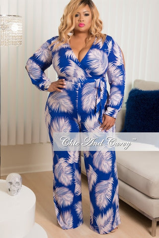 New Plus Size Long Peek-A-Boo Sleeve, Deep V-Neck Faux Wrap Jumpsuit in Blue, Pink and White