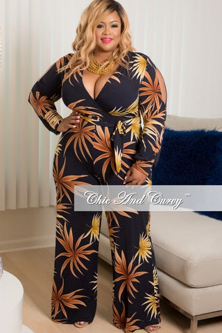 New Plus Size Long Peek-A-Boo Sleeve, Deep V-Neck Faux Wrap Jumpsuit in Navy Blue, Brown & Yellow