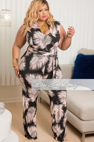 New Plus Size Cap Sleeve, Deep V-Neck Faux Wrap Jumpsuit in Black, Pink & White