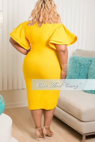 New Plus Size Bodycon Dress with Ruffle Sleeves in Yellow
